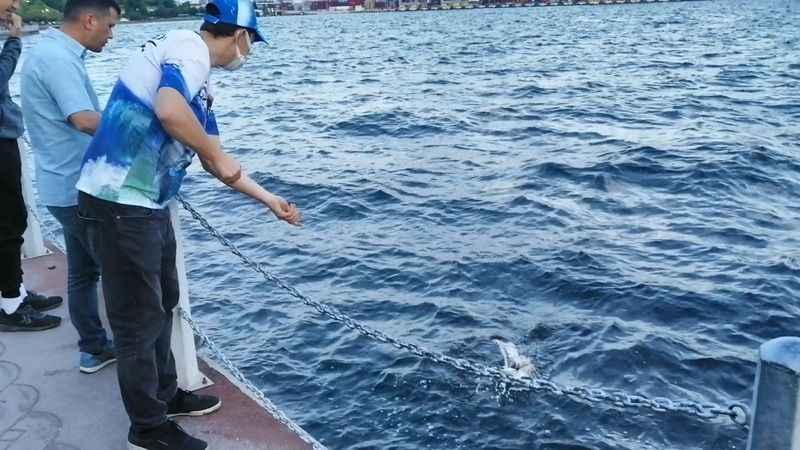 Balık tutmak için attığı oltasına takılanı görünce şaşırdı