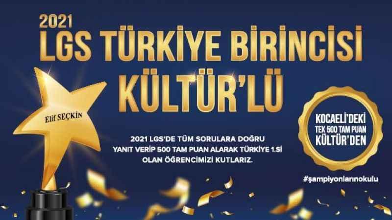 Kocaeli'deki tek Türkiye birincisi Kültür'den!