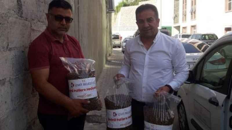 İzmit Belediyesinden, Körfez'deki sokak hayvanlarına mama desteği
