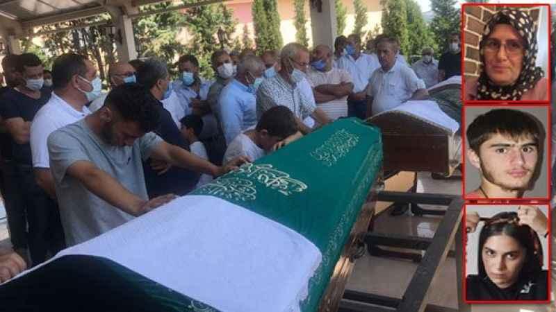 Feci kazada ölen anne ve çocukları toprağa verildi