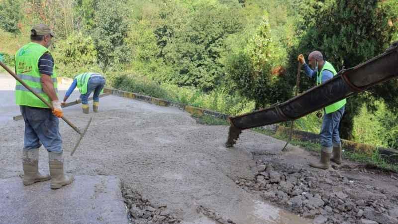 Fevzi Çakmak'taki beton yol çalışmasında sona gelindi