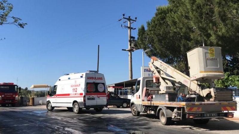 Mahallede patlayan trafo alev alev yandı