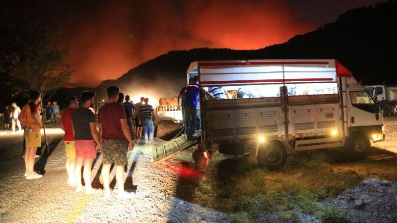 Milas'ta yangın sebebiyle 5 mahalle boşaltıldı
