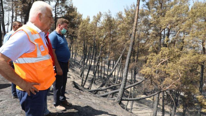 Başkan Gürün, yangın bölgelerinde incelemelerini sürdürüyor