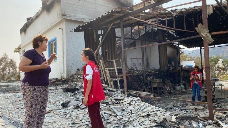 Yangından etkilenen bölgelere psiko-sosyal destek