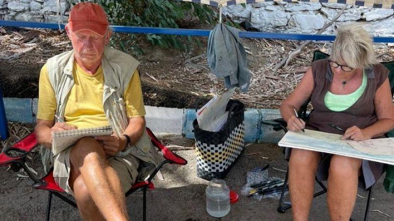 İasos'ta, yeni limana karşı resim etkinliği