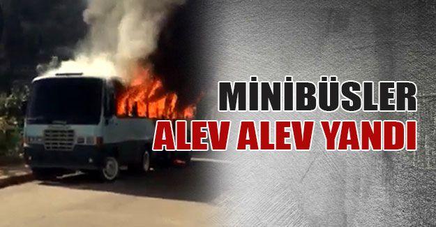 İzmit'te minibüsler alev alev yandı