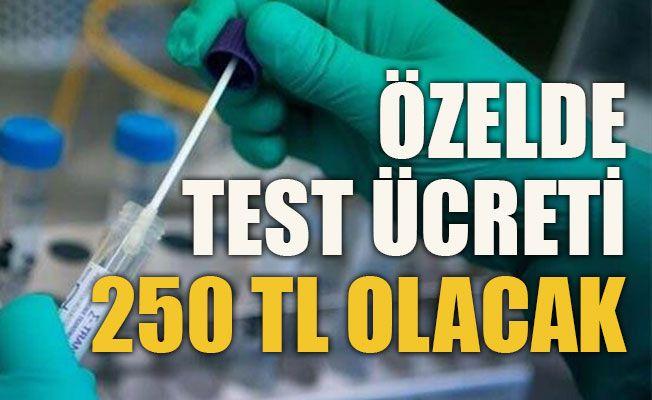 Özelde test ücreti 250 TL  olacak