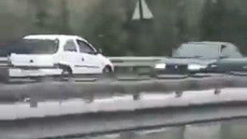 Otoyolda ters yönde hızla ilerleyen otomobil tehlike saçtı