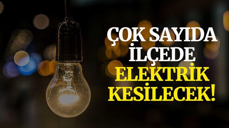 Kocaeli'de bugün çok sayıda ilçede elektrik kesilecek!