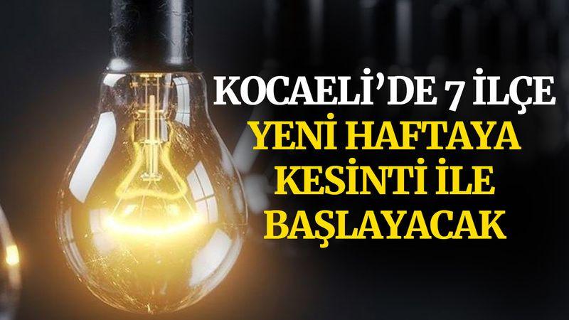Kocaeli'de 7 ilçe, yeni haftaya kesinti ile başlayacak