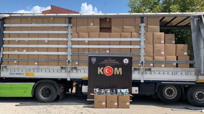 Düzce'de 9.5 ton kaçak tütün ele geçirildi