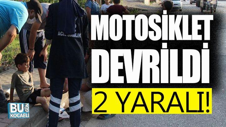 Kocaeli haber - Yayaya çarpmamak için manevra yapan motosiklet devrildi: 2 yaralı