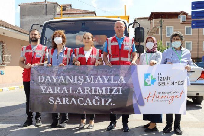 İzmit Belediyesinin yardım kamyonu sel bölgesine gönderildi