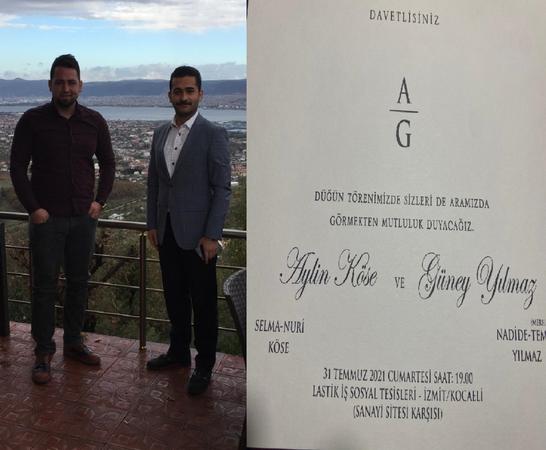 Güney Yılmaz'ın düğün davetiyesini Uzuner dağıtıyor
