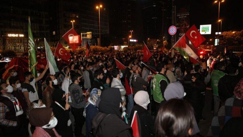 Siyonist İsrail'in Mescid-i Aksa saldırıları İstanbul'da protesto ediliyor