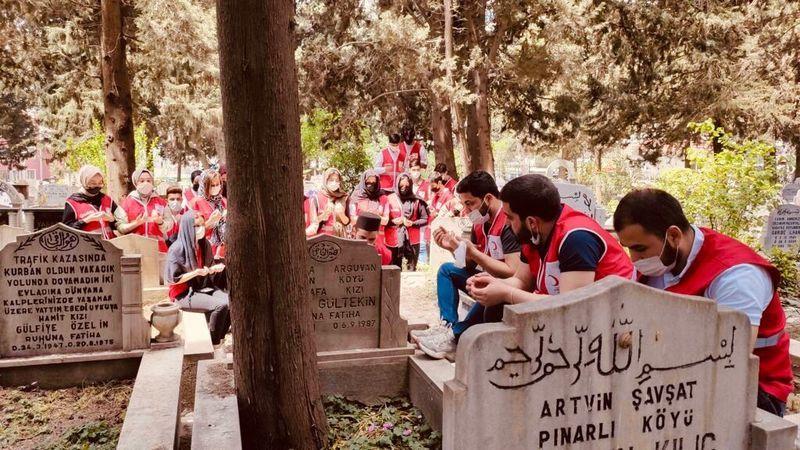 Genç Kızılay gönüllülerinden mezarlıklarda bakım hizmeti