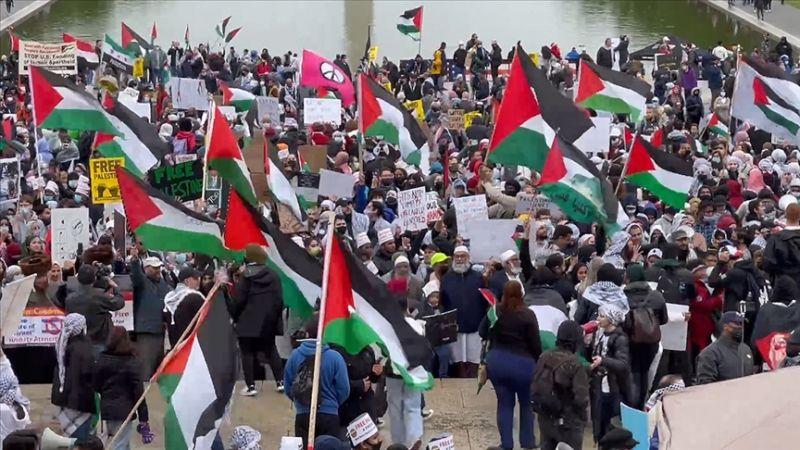 Washington'da 'Filistin'e destek' gösterisi düzenlendi