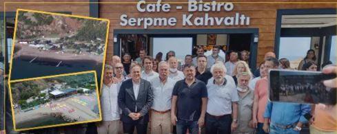 Halk TV'nin sahibi Mahiroğlu'nun Assos'taki kaçak işyeri açılışına CHP'den tam kadro katılım!
