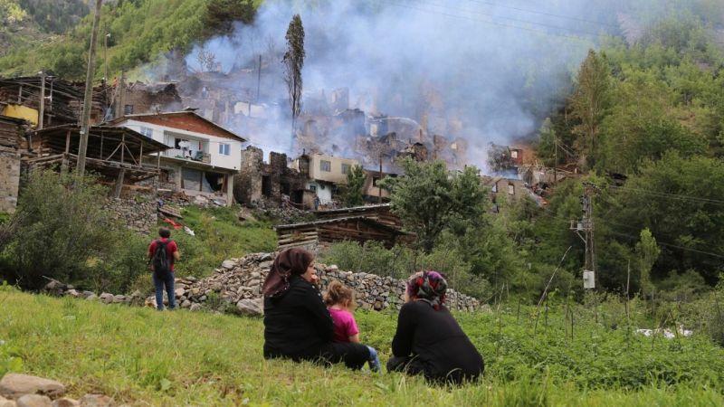 Artvin'in Yusufeli ilçesinde çıkan yangında 33 ev kullanılamaz hale geldi