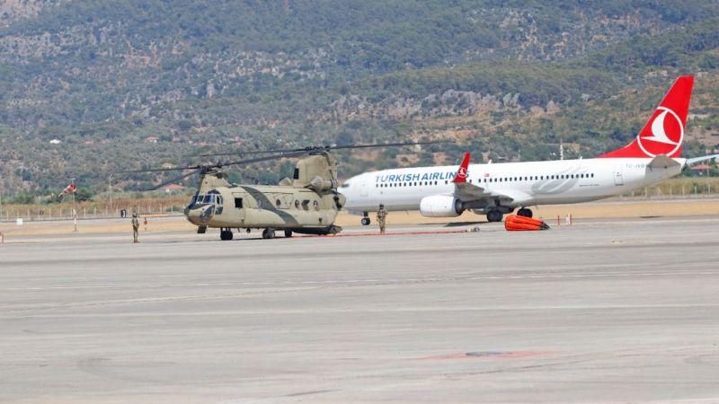 Soğutma çalışmaları için ABD'den  Muğla'ya 2 helikopter geldi
