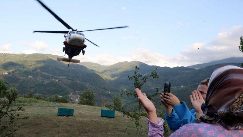 Sel felaketinin yaşandığı Bozkurt'a helikopterle jeneratör yardımı