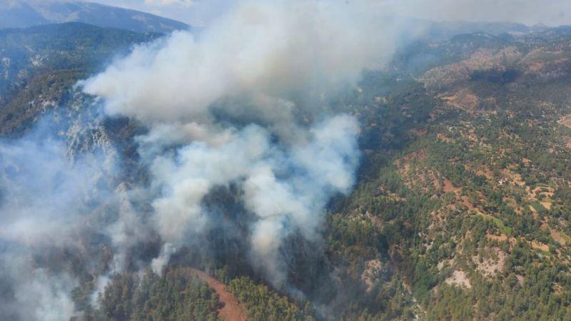 Köyceğiz'de orman yangını: 2 uçak 8 helikopter müdahale ediyor!