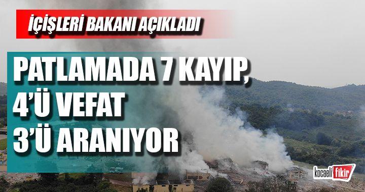 Havai fişek patlamasında üç kayıp aranıyor! İçişleri Bakanı açıkladı
