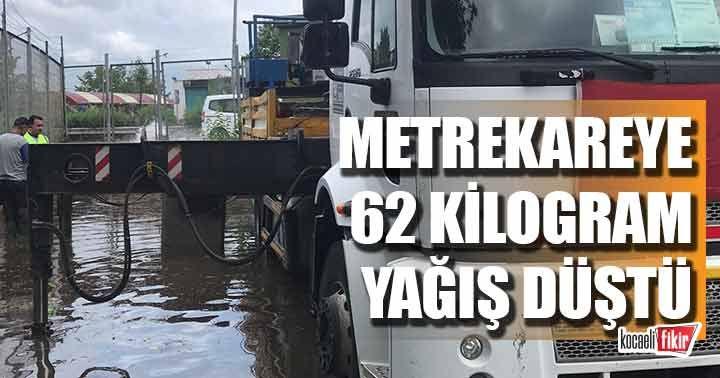İzmit'te 2 saatte metrekareye 62 kg yağış düştü