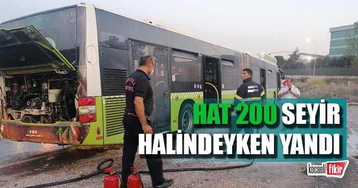 İstanbul İzmit seferini yapan Hat 200 seyir halindeyken alev aldı