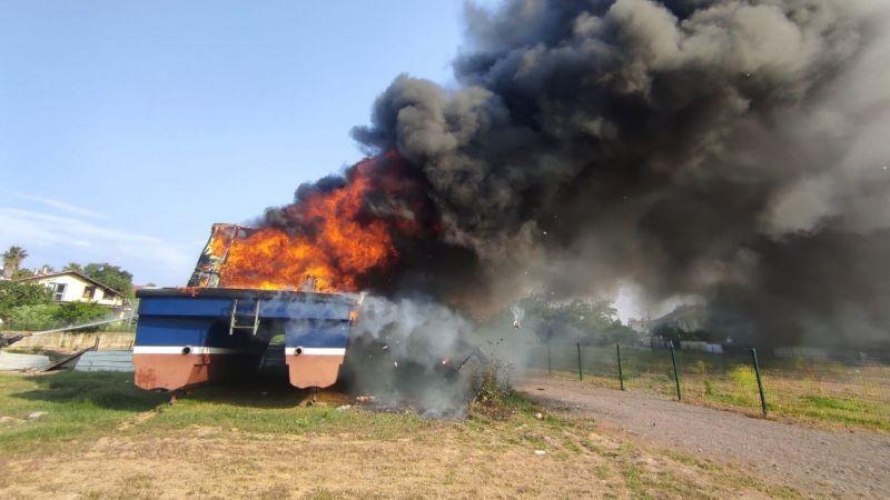 Teknede 7 saat sonra yeniden yangın çıktı