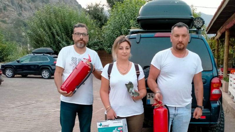 İzmitli hayırsever yangın bölgesinde yardım dağıttı