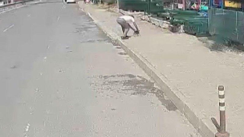 Yola giren yavru köpeği ezilmekten belediye otobüsü şoförü kurtardı