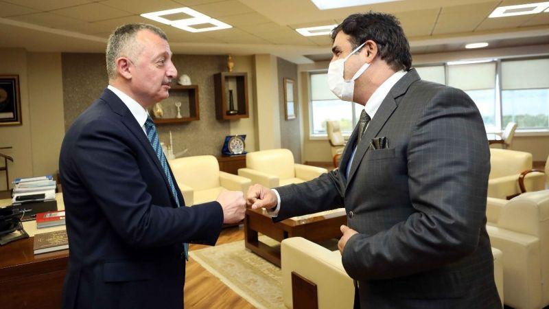 Büyükakın İKM Başkanı Murat Öztürk'ü makamında konuk etti