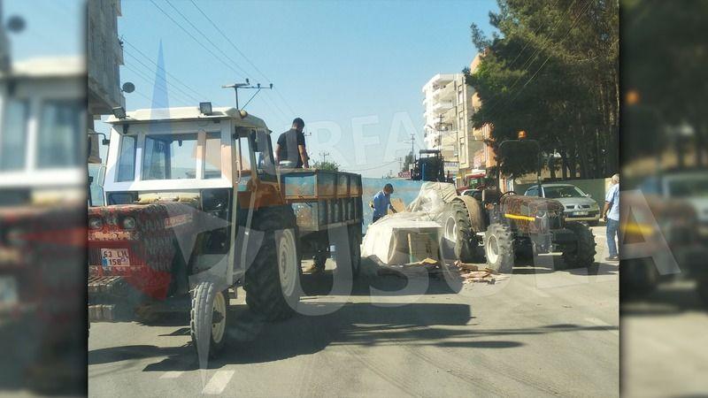 Urfa'da fayans yüklü traktör devrildi!