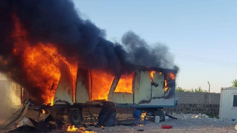 Urfa'daki yangında konteynır küle döndü!