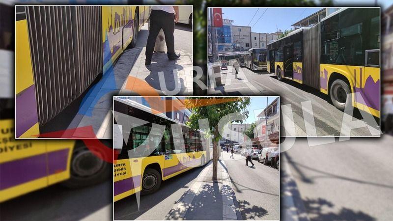 Urfa'da trambüsü akıllara getiren kaza: Körüklü otobüs bile dönemedi!