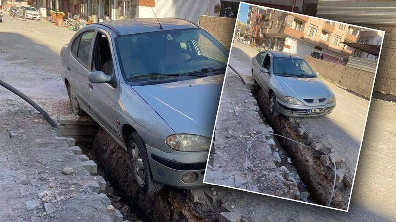 Urfa'da araç DEDAŞ'ın çukuruna düştü iddiası