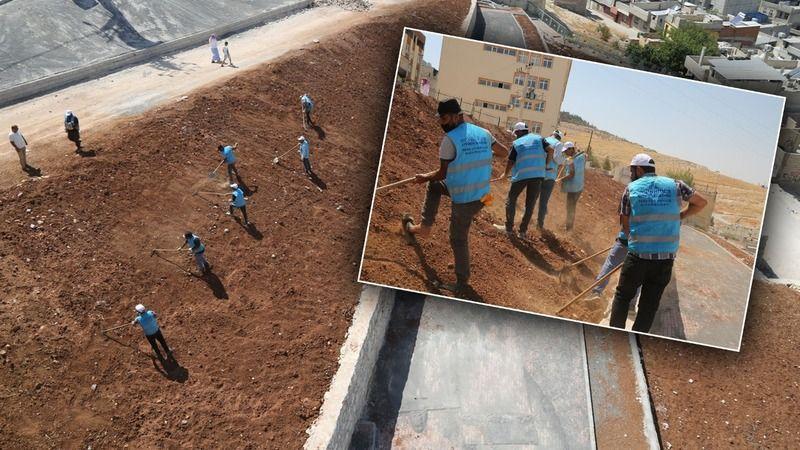 Eyyübiye'de yeşil alan çalışmaları devam ediyor
