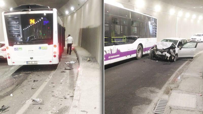 Belediye otobüsü ve otomobil çarpıştı