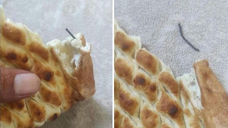 Yerken dişiniz kırılmasın! Ekmeğin içinden çivi çıktı iddiası!