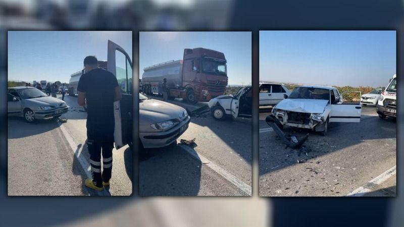 Ölüm yolunda iki otomobil çarpıştı!