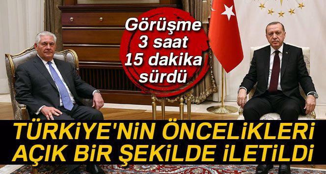 Cumhurbaşkanı Erdoğan-Tillerson görüşmesi 3 saat 15 dakika sürdü