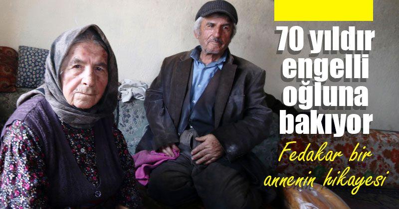 93 yaşındaki Emine Avcu, 70 yaşındaki engelli oğluna gözü gibi bakıyor