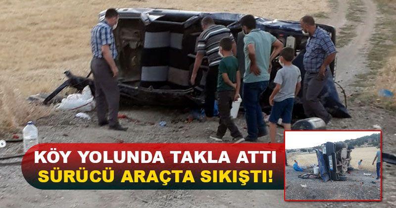 Karaman'daki köy yolunda otomobil takla attı