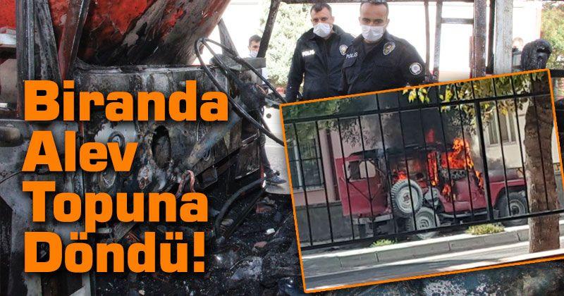 Karaman'da park halindeki cip yanarak demir yığınına döndü