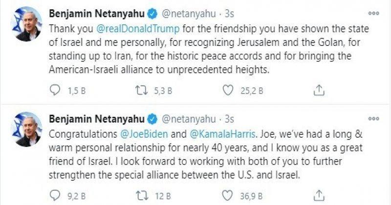 İsrail Başbakanı Netanyahu'dan ABD'nin yeni Başkanı Biden'a tebrik