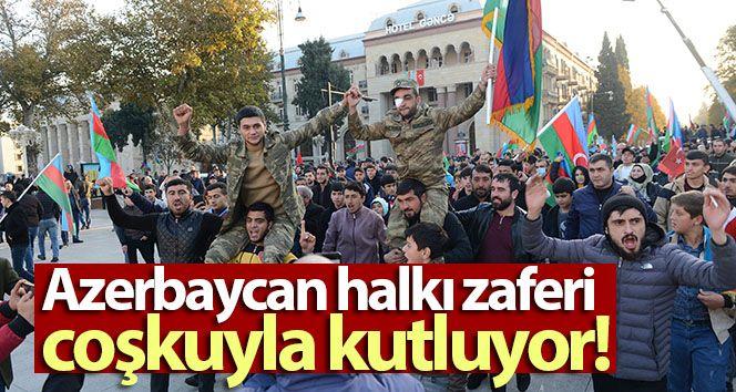 Azerbaijani people celebrate the victory with enthusiasm