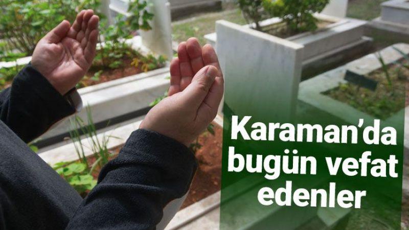 1 Aralık Karaman'da vefat edenler