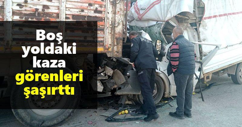 Boş yoldaki kaza görenleri şaşırttı